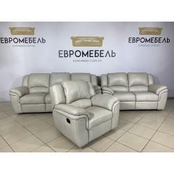 Кожаный комплект два дивана и кресло реклайнер