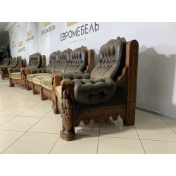 Диван Два кресла Стол Ручная резьба