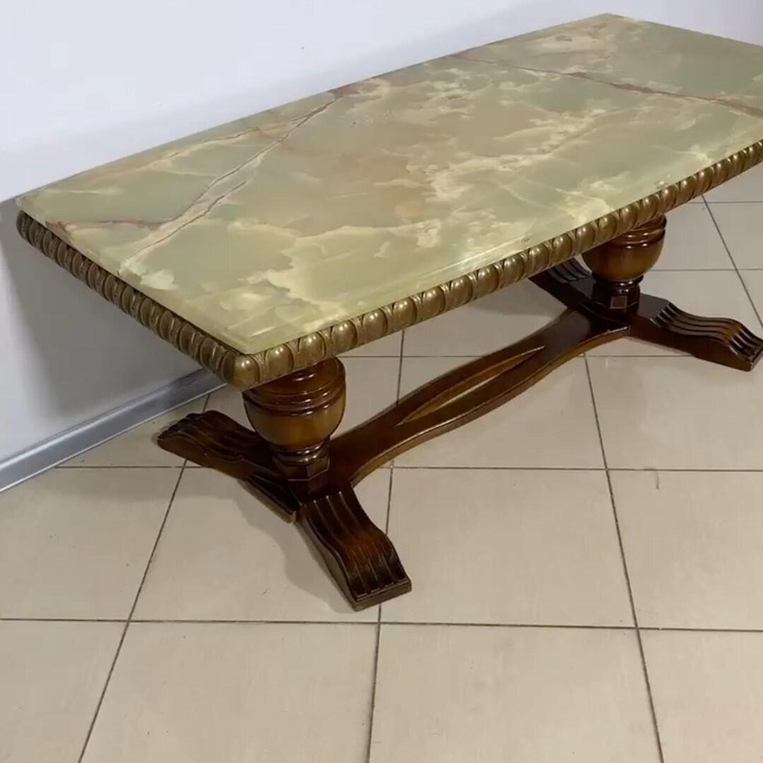 Журнальный стол . Столешница камень оникс на дубовом каркасе. 🧨🏠#0503838532