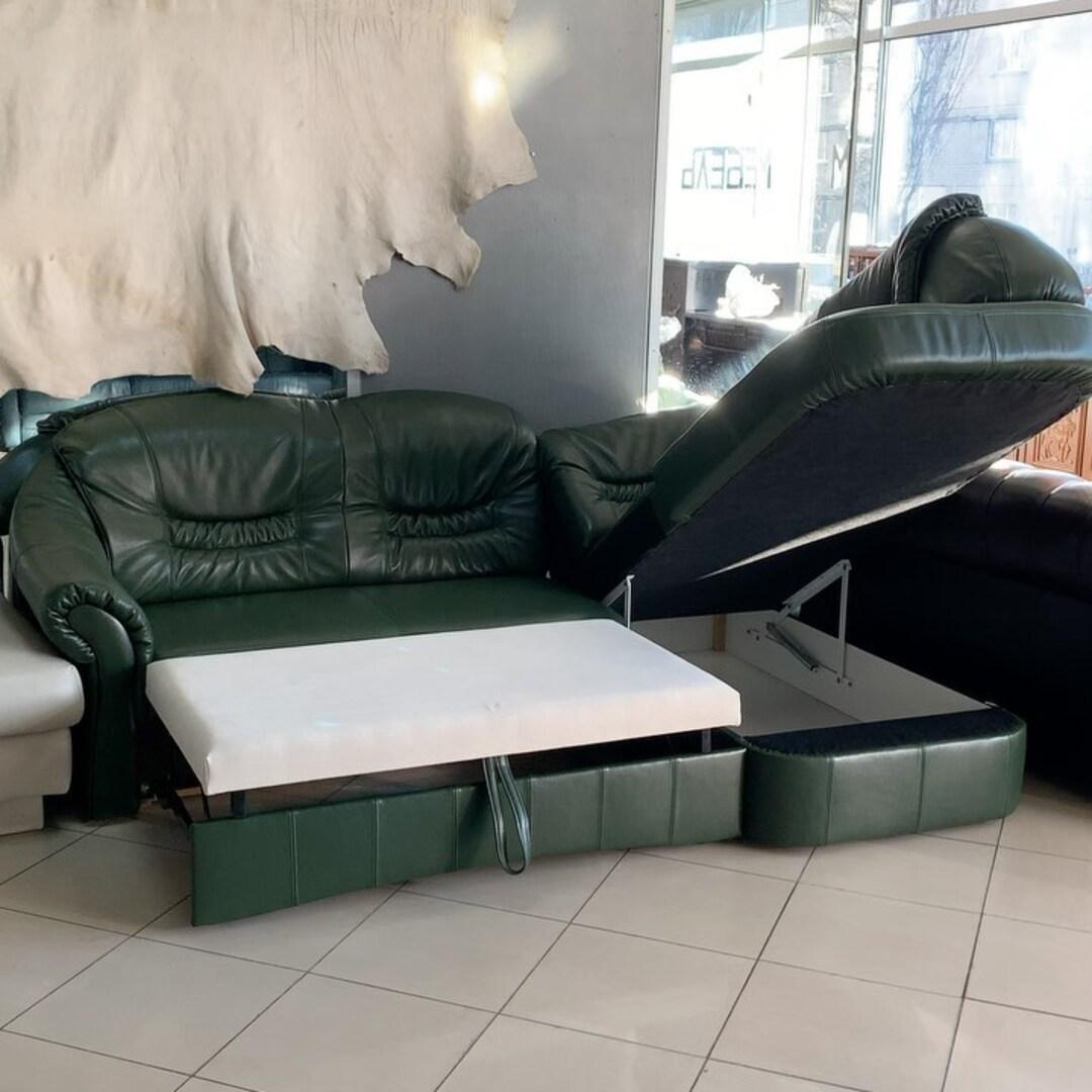 Кожаный новый угловой диван, с функцией сна ☺️ Спальное место  120/200 170/240 см  Цена 1250$ Киев улица Пожарского 8. ☎️0503838532
